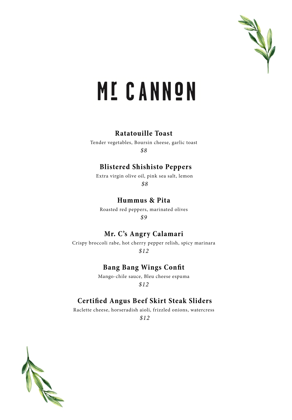 20180116 mr cannon food menu